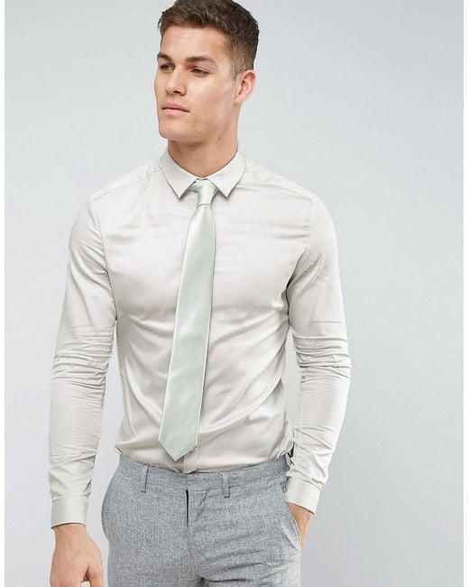 ASOS - Green Wedding Skinny Fit Sateen Shirt In Mint for Men - Lyst