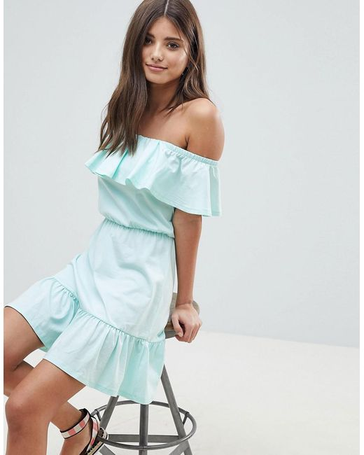 d80476bded55 ASOS - Green Off Shoulder Sundress With Tiered Skirt - Lyst ...