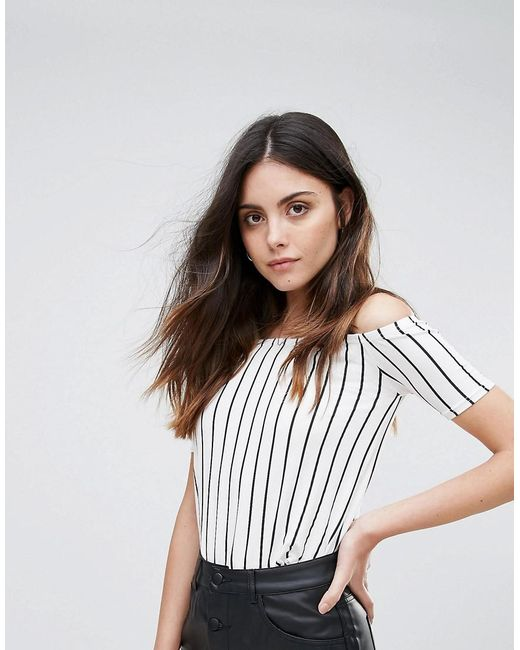 Daisy Street   White Striped Cold Shoulder Oversized Top   Lyst