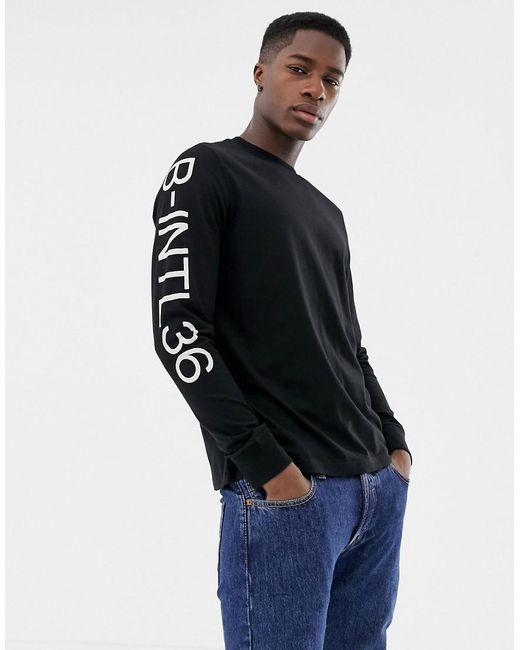 0c766e11 Barbour - Pressure Side Stripe Long Sleeve T-shirt In Black for Men - Lyst  ...