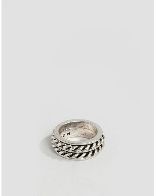 Icon Brand   Metallic Rope Ring In Silver for Men   Lyst