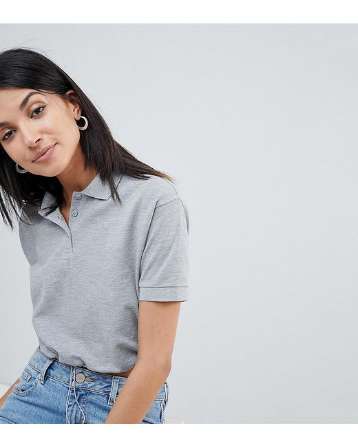 ASOS - Gray Asos Design Tall Polo T-shirt With toggle Hem In Grey - Lyst