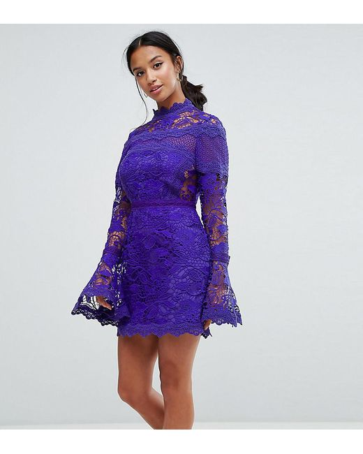 2b351b8a05d1 ASOS - Blue Lace Long Sleeve Mini Dress With Fluted Sleeves - Lyst ...