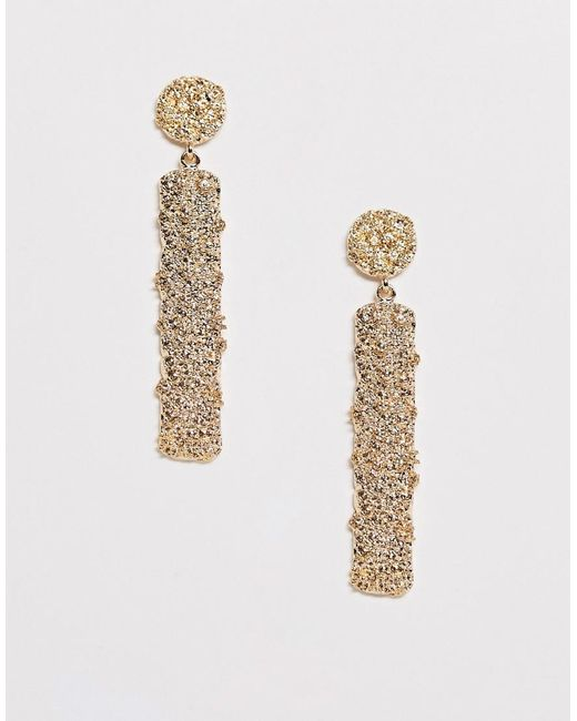 ASOS Metallic Earrings With Stud And Bar Drop In Gold Tone