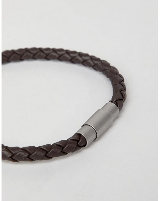 ... BOSS - Blaine Plaited Leather Bracelet Strap In Brown for Men - Lyst 594fd5c6a7