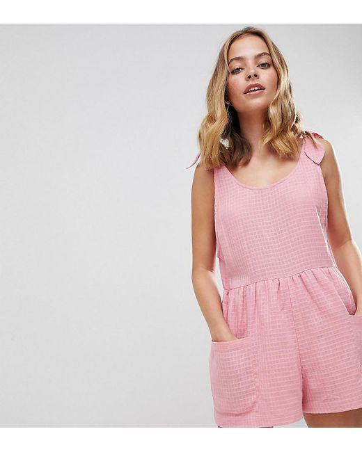 6441a9aa659 ASOS - Pink Asos Design Petite Smock Romper With Tie Shoulder - Lyst ...