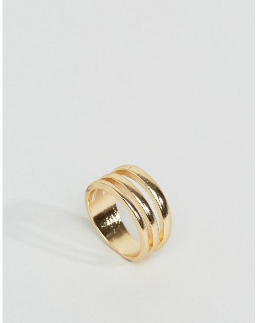 ASOS | Metallic Triple Row Ring | Lyst