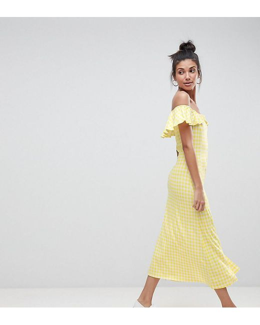 7667a0a4ab0 ASOS - Yellow Off Shoulder Button Through Midi Sundress In Gingham - Lyst  ...