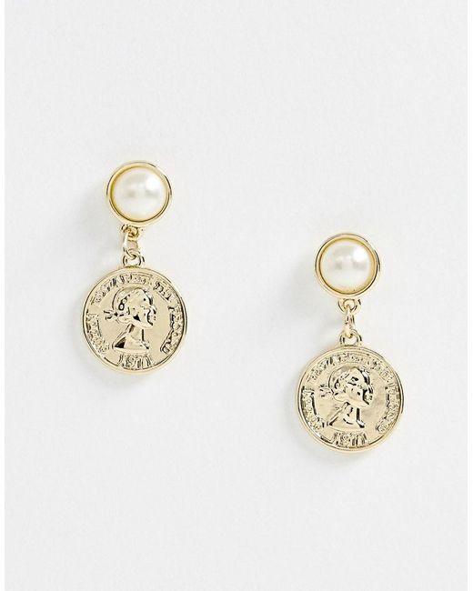 Pieces - Metallic Roman Coin Drop Earring - Lyst