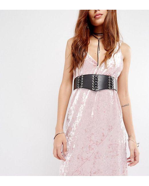 Glamorous | Black Corset Lace-up Eyelet Waist Belt | Lyst