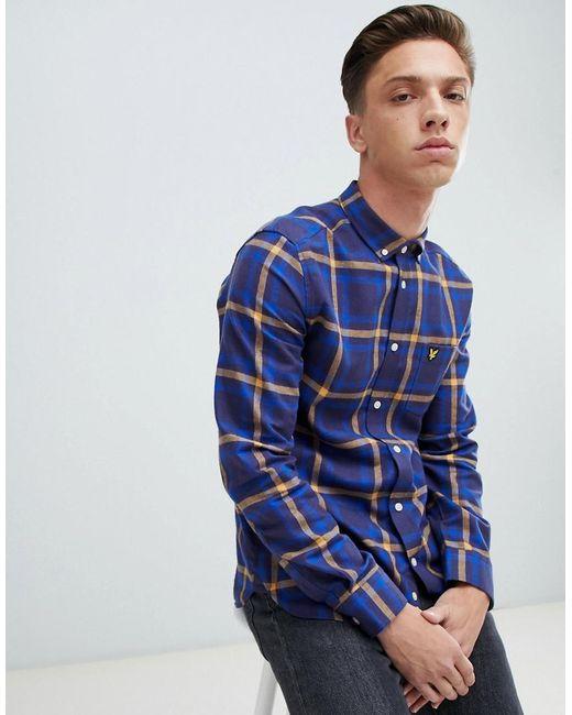 Lyle & Scott - Blue Buttondown Windowpane Check Shirt In Navy for Men - Lyst