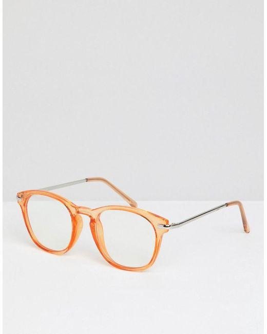 be795ecb2f ASOS - Orange Gafas redondas en tono naranja cristalino con lentes  transparentes de for Men ...