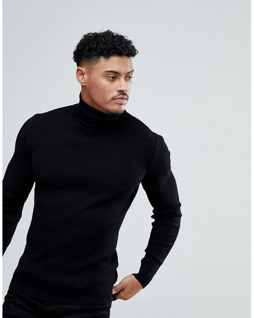 613b485cbbb7 ASOS Muscle Fit Ribbed Roll Neck Jumper In Black in Black for Men - Lyst