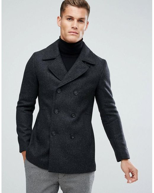 Ted Baker | Gray Peacoat for Men | Lyst