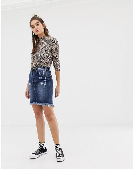 Glamorous - Blue Denim Skirt - Lyst