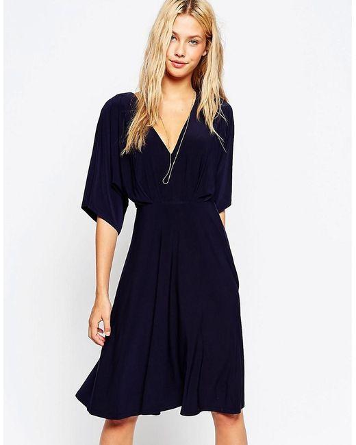 ASOS   Blue Kimono Plunge Midi Dress   Lyst