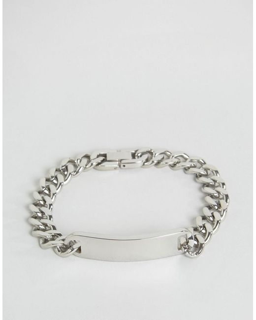 Seven London - Metallic Id Chain Bracelet In Silver Exclusive To Asos for Men - Lyst