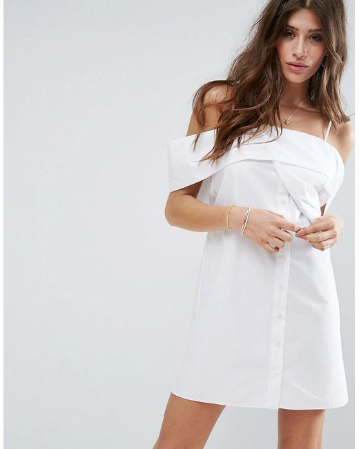ASOS | One Shoulder Fold White Cotton Poplin Dress | Lyst