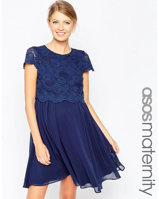 ASOS | Blue Maternity Skater Dress With Lace Crop Top | Lyst