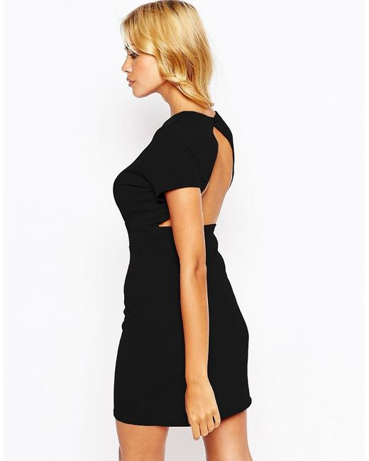 Love | Black Pencil Dress With Open Back | Lyst
