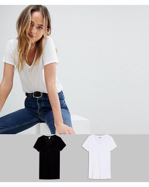 ASOS - Multicolor Asos Design Tall V-neck Swing T-shirt 2 Pack Save - Lyst