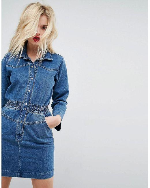 ASOS | Denim Shirt Dress In Midwash Blue With Elastic Waist | Lyst