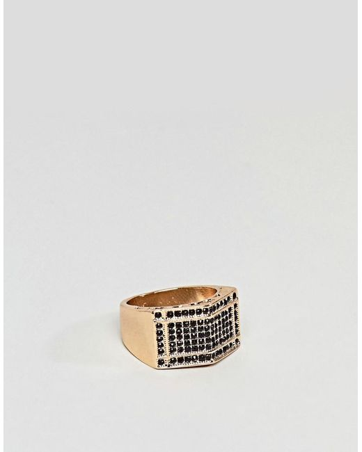 ASOS - Metallic Oversized Ring In Gold With Crystals for Men - Lyst
