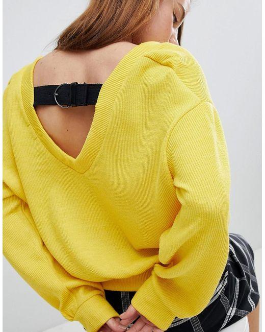 Bershka - Yellow Buckle Back Balloon Sleeve Sweater - Lyst