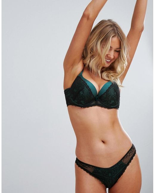 Ivory Rose Lingerie - Green Ivory Rose Contrast Lace Thong In Teal - Lyst  ... d9aa980ad
