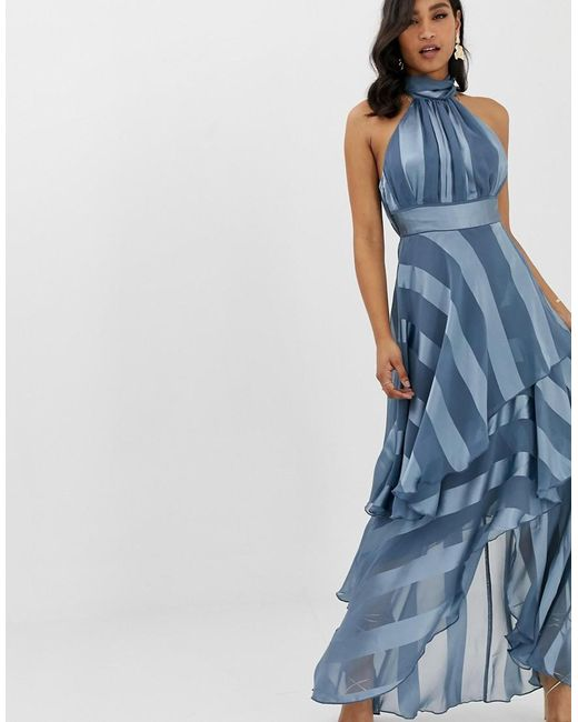93a2e57cad25 ASOS - Blue High Neck Tiered Maxi Dress In Sheer And Solid Stripe - Lyst ...