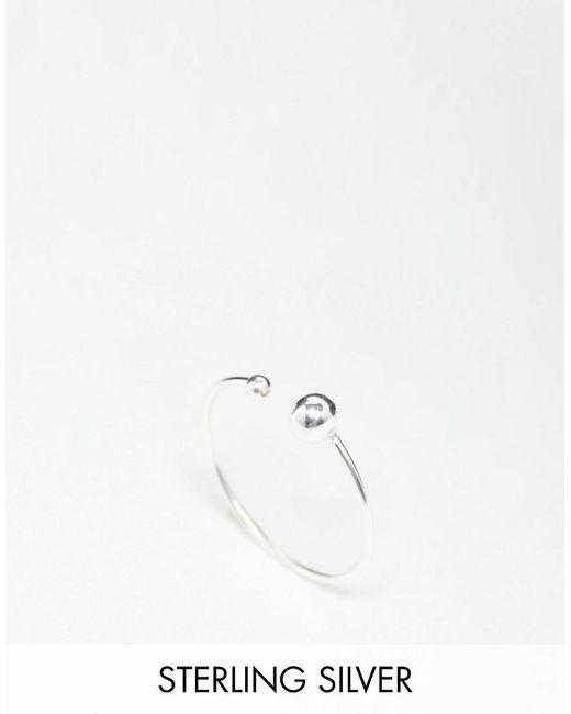 ASOS   Metallic Sterling Silver Fine Open Bead Ring   Lyst