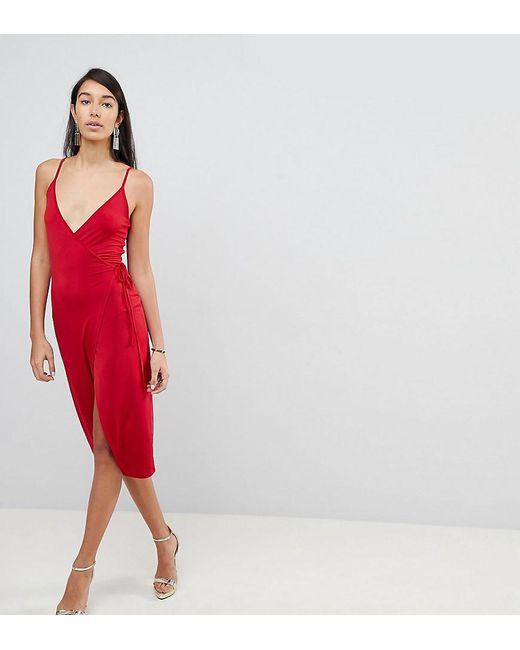 ASOS - Red Sexy Wrap Midi Bodycon Dress - Lyst