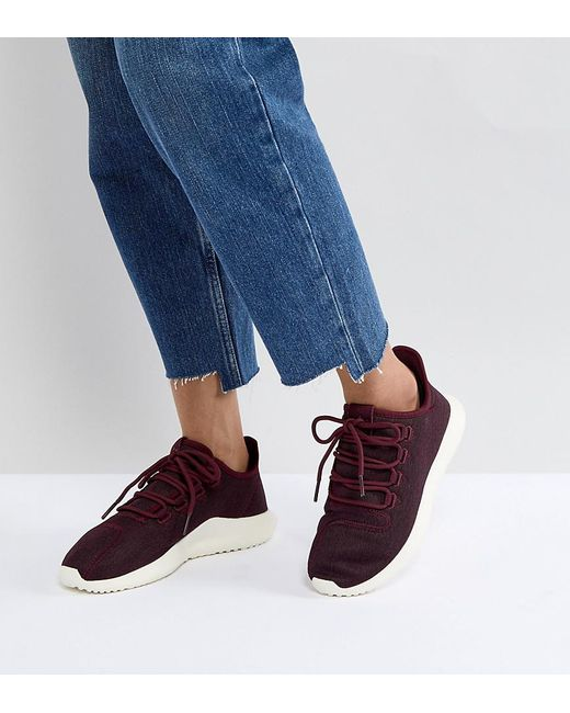 low priced 348f1 7dce4 Adidas Originals - Red Originals Tubular Shadow Trainers In Burgundy - Lyst  ...