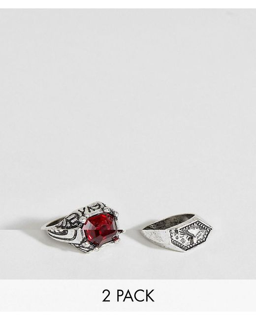 ASOS - Metallic Oversized Ring Pack In Burnished Silver With Red Stone for Men - Lyst