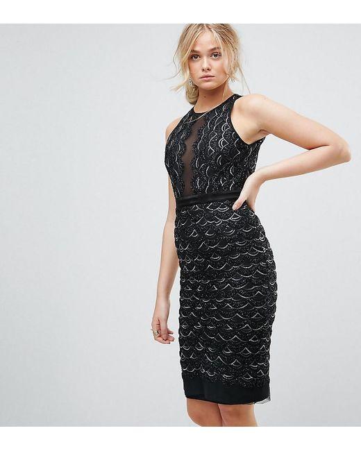 TFNC London - Black High Neck Mini Scallop Sequin Dress - Lyst ... 0a59847a0
