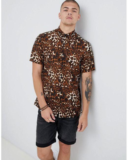 ASOS - Regular Fit Sheer Leopard Animal Print Shirt In Brown for Men - Lyst  ... fc8806042