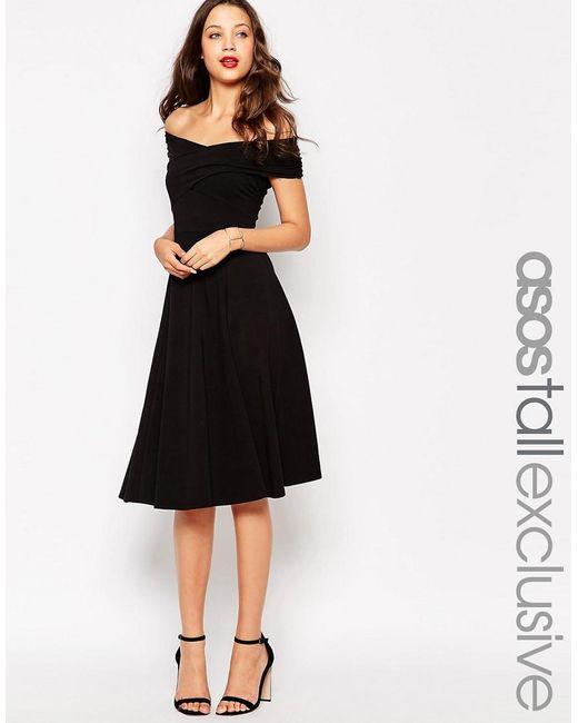 ASOS | Black Tall Skater Dress With Bardot Neckline | Lyst