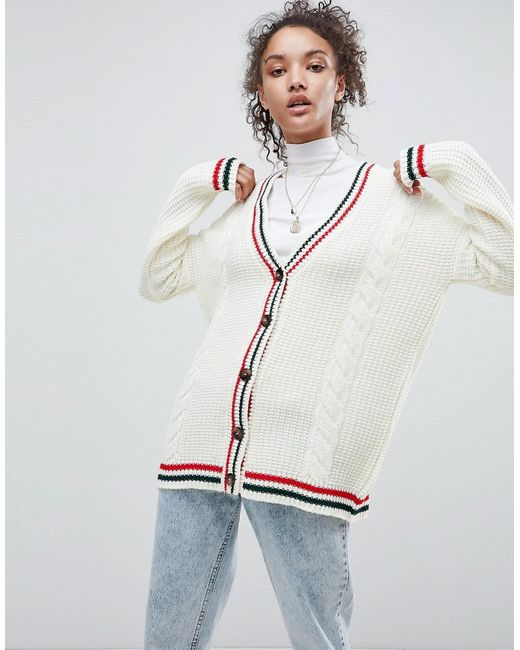 ASOS - White Cardigan With Sports Tipping - Lyst