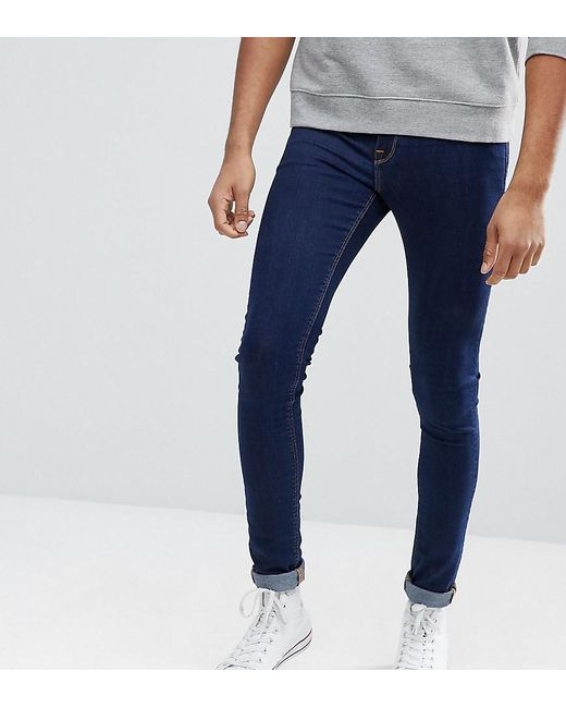 ASOS - Tall Extreme Super Skinny Jeans In Raw Blue for Men - Lyst