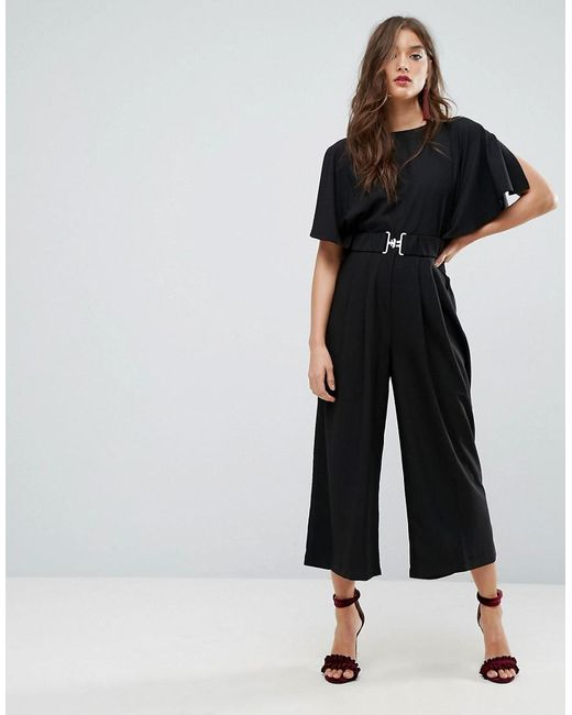 Cheap Buy Tea Jumpsuit with Elasticated Belt - Black Asos Cheap Price Wholesale Price Discount Popular dZkDk
