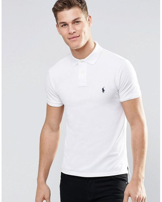 90b4c10e Polo Ralph Lauren - Slim Fit Polo With Logo In White for Men - Lyst ...