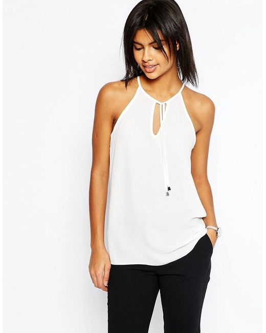ASOS | White High Neck Cami With Keyhole And Tie Front | Lyst