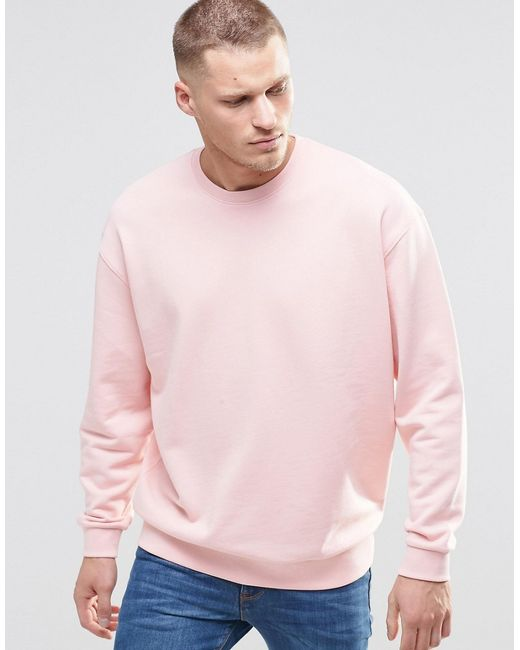Asos Oversized Sweatshirt In Pink in Pink for Men - Save 37% | Lyst