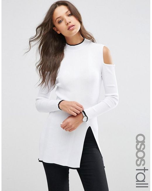 ASOS | White Tall High Neck Tunic With Cold Shoulder And Side Split | Lyst