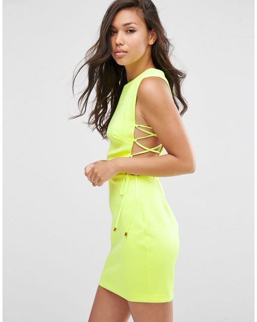 ASOS | White Lace Up Side Scuba Mini Dress | Lyst