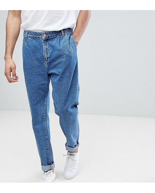 ASOS - Tall Double Pleat Straight Leg Jean In Light Blue for Men - Lyst ...