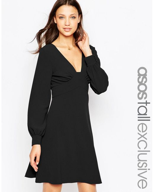 ASOS | Black 70's Plunge Mini Dress With Long Sleeves | Lyst