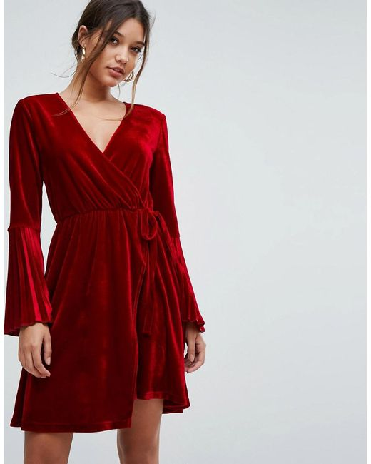 39cfdc4dc1c Aeryne - Red Velvet Wrap Dress With Pleated Sleeves - Lyst ...