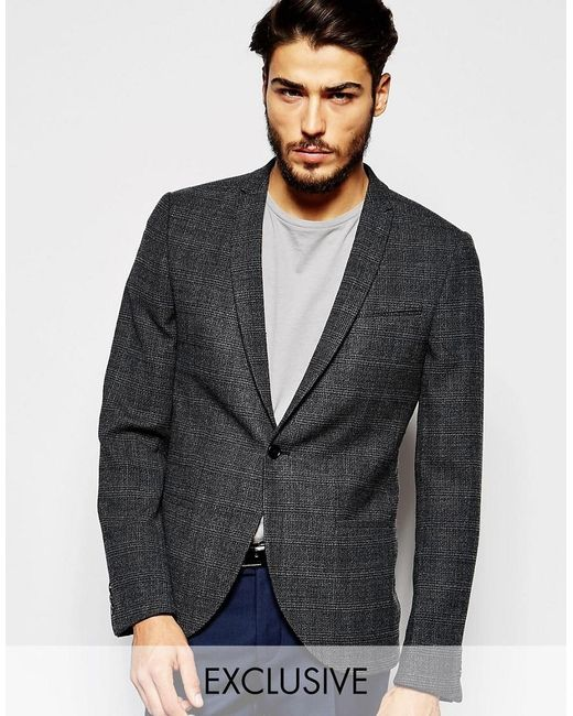 Noak | Gray Prince Of Wales Check Blazer Jacket In Super Skinny Fit for Men | Lyst