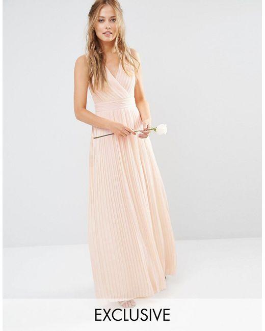 Tfnc london wedding pleated wrap maxi dress in pink save for Tfnc wedding wrap maxi dress